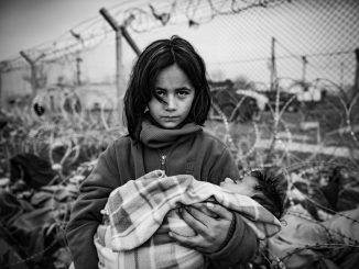girl in refugee camp in Idomeni on the Greek-Macedonian border