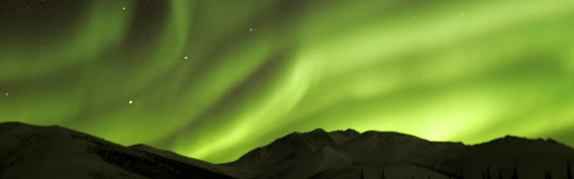 Image of the green lights of the Aurora Borealis by Andy Long.