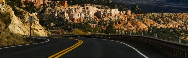 Image of highway in a canyon by Noella Ballenger.