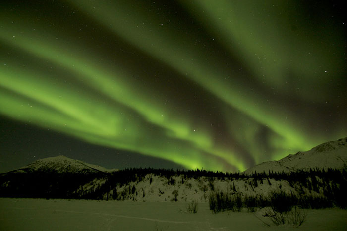 Photo of the Aurora Borealis in shades of green in Alaska by Andy Long