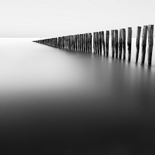 Black and white photo of Groynes in France with smooth water by Geoffrey Gilson.
