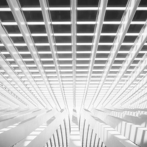 Black and white photo of Guillemins Train Station in Liege, Belgium by Geoffrey Gilson.