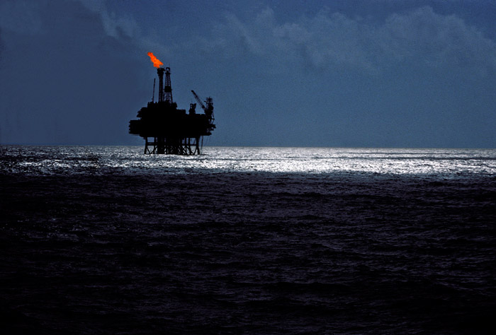 Photo of oil platform in the Forties oil fields in the North Sea by Get Wagner