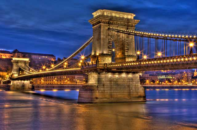 HDR Photography: Budapest bridge at twilight using high dynamic range / tonal mapping by Matthew Bamberg.