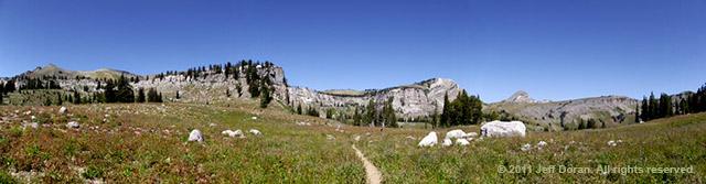Panoramic image of Teton Crest Trail, Grand Tetons, Wyoming by Jeff Doran.