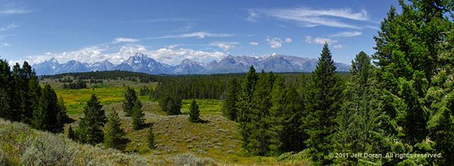 Panoramic image of The Grand Teton Range, Wyoming by Jeff Doran.