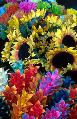 A basket of many different colored flowers by Andy Long.