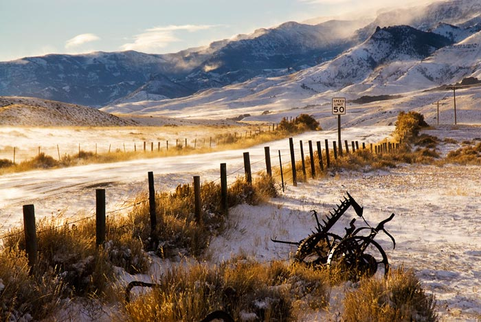 Winter landscape hoto of South Fork road in Wyoming by Robert Hitchman