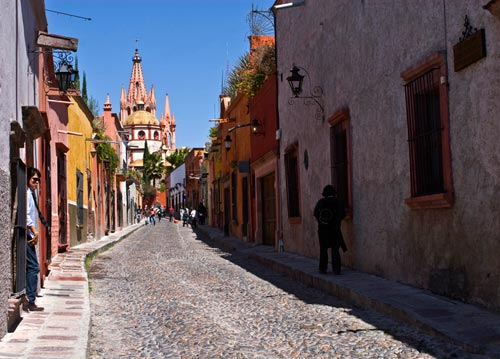 Photo of road to church towers in San Miguel de Allende, Mexico by Randy Romano