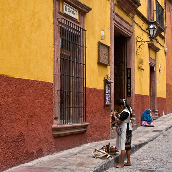 Photo of woman on the street in San Miguel de Allende, Mexico by Randy Romano