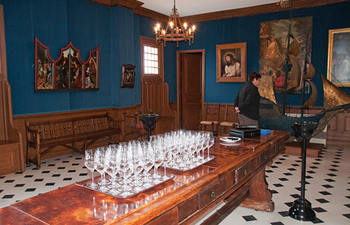 Photo of the tasting room at La Mission Haut-Brion in Southern France by Cliff Kolber
