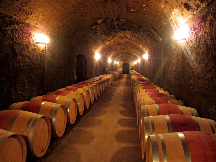 Photo of barrel room at Chateau Pontet-Canet in Southern France by Cliff Kolber