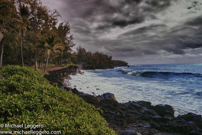 HDR photo of Pacific Ocean from Hawaii shore by Michael Leggero