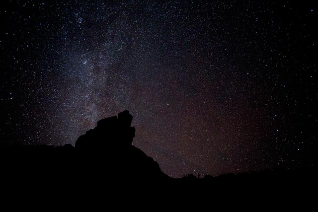 Star photography: Milky Way & Big Dipper seen at night at Valley of the Gods, Utah