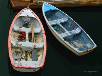 Acadia National Park, Maine: two dinghies floating on the water at Bar Harbor by Juergen Roth.