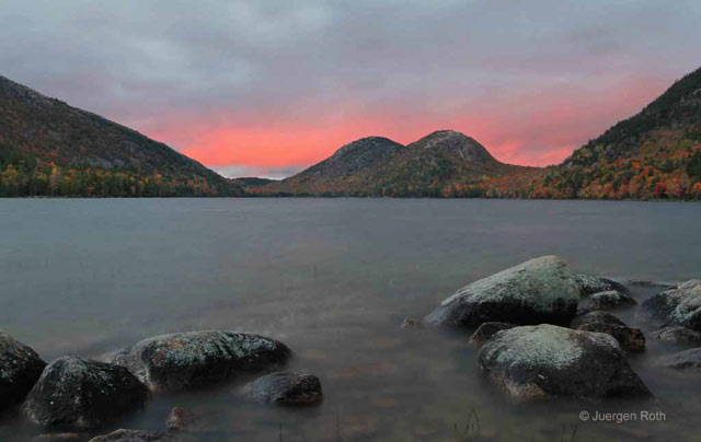 Acadia National Park, Maine: silky water effect of Jordan Pond with the Bubbles (hills) in the background at dusk by Juergen Roth.