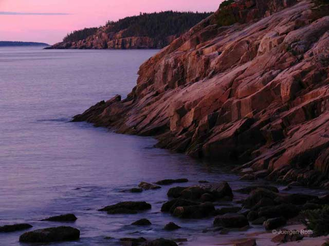 Acadia National Park, Maine: rugged granite coast along the shore by Juergen Roth.