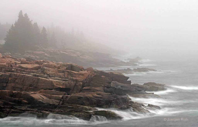 Acadia National Park, Maine: rocky seacoast image made in the fog and mist by Juergen Roth.