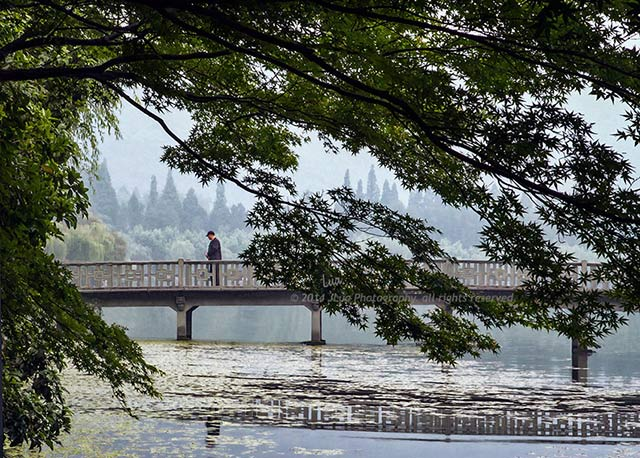 """Contemplation"": image of chinese man on a bridge over serene water in Hangzhou, China by Jean Lua."