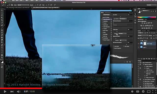 Screen shot of Photoshop showing the use of the scattering brush tool by Katelin Kinney.