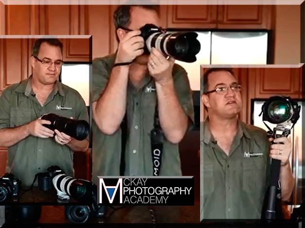 Image collage of David McKay as he explains the use of shutter speed with the focal length of a lens.