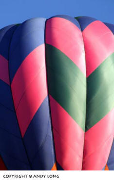 Photo design concepts: close-up of hot air balloon depicting color, line, shape and form in a photo by Andy Long.