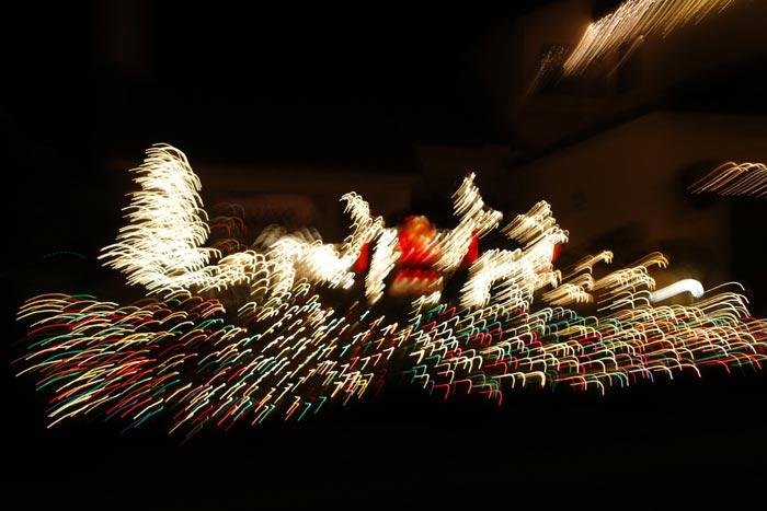 Motion photo of Santa & Reindeer lights by Noella Ballenger