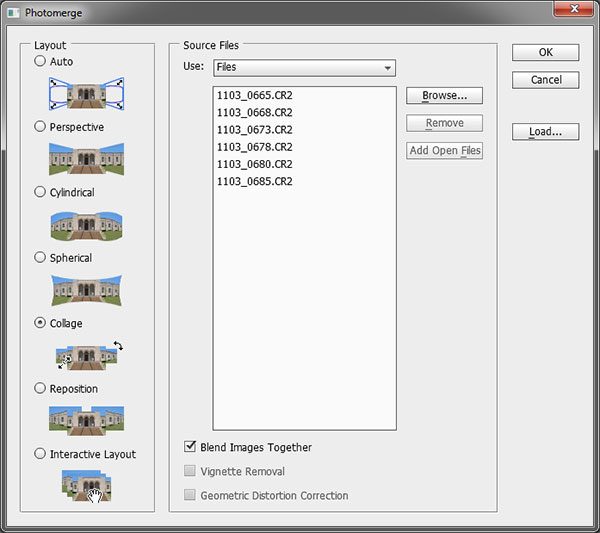 Screen capture of Photomerge box in Photoshop CS5 by Brad Sharp