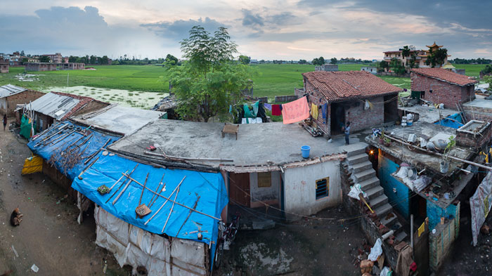 Photo of poor housing development from Mohammad's Guesthouse in Bodhgaya, India by Nico DeBarmore