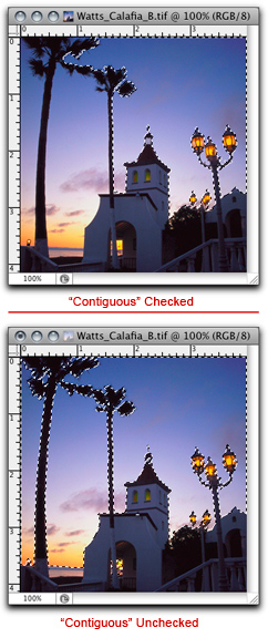 Screen shots showing effects of using Photoshop Magic Wand Selection Tool by John Watts