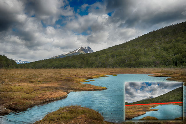 Landscape Photography Mistake and Solution: Crooked horizone line straightened in mountain and stream scene by Michael Leggero.