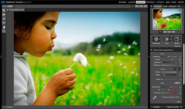 Perfect Photo Suite 8 Software: screen shot of Perfect Enhance.