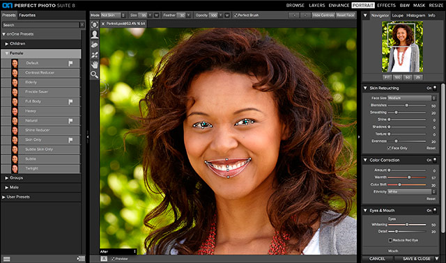 Perfect Photo Suite 8 Software: screen shot of Perfect Portrait.