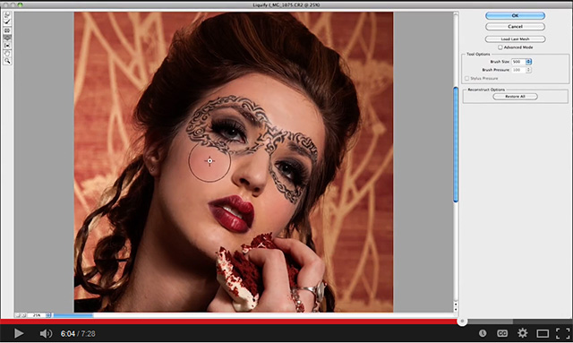 Screen shot of the Liquify Tool in use on a models face in Photoshop by Katelin Kinney.