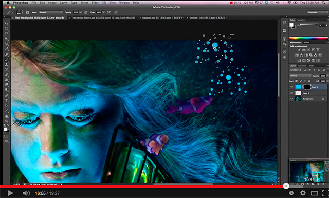 Photoshop screen shot of painting bubbles with a brush tool by Katelin Kinney.