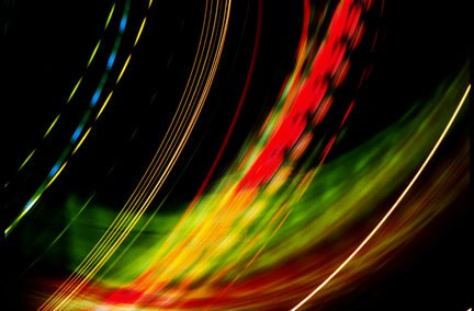 Photo of colorful lights made while swinging the camera in an arc by Noella Ballenger.