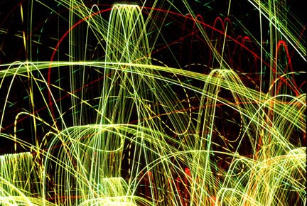 Photo of Christmas lights made while dancing with the camera by Noella Ballenger.