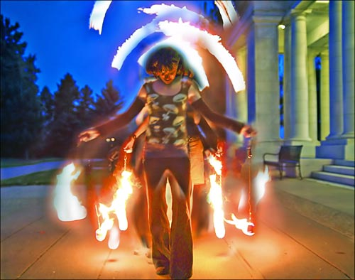 Photo of fire thrower from Emotion in Motion ebook by Jim Austin.