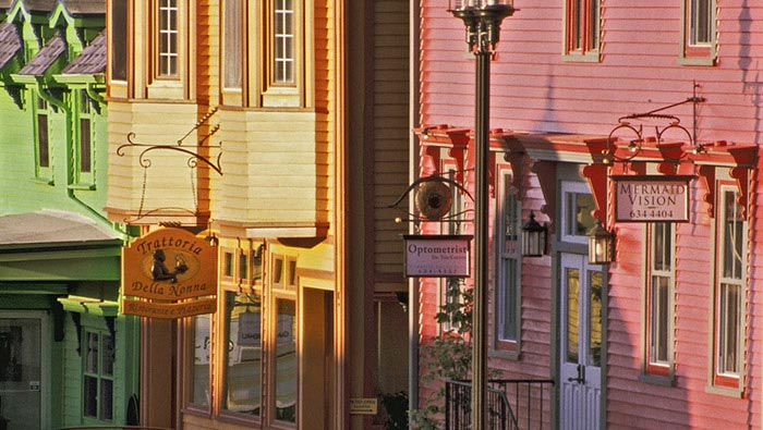 Photo of colorful store fronts in Lumenburg, Nova Scotia by Mike Goldstein