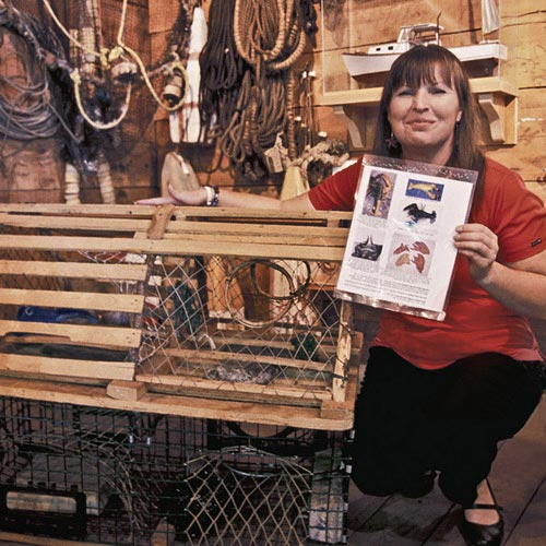 Photo of Lorna Ross at the Fisheries Museum of the Atlantic in Lumenburg, Nova Scotia by Mike Goldstein