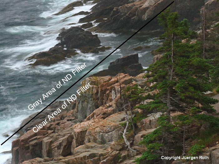Photo of rocky shoreline of Acadia National Park showing neutral density filter use by Juergen Roth .