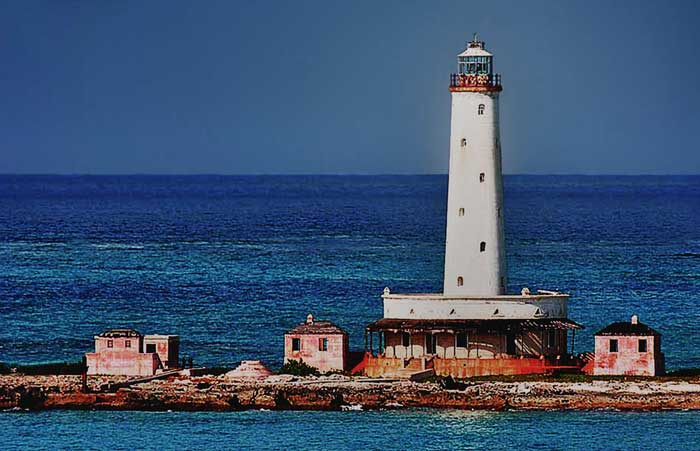 HDR image of Crooked Island Bird Rock Cay Lighthouse in the Bahamas by Jim Austin