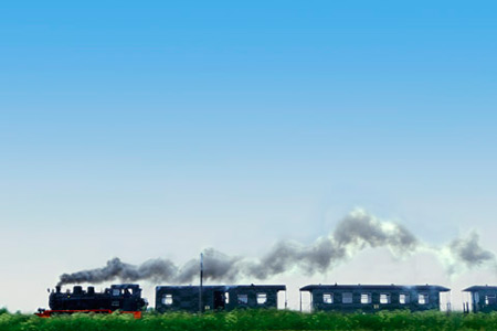 Photo showing extremely low horizon: train engine and cars by Gert Wagner.