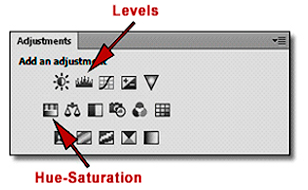 Photoshop Adjustments Panel: Screen shot showing location of Levels and Hue-Saturation icons by John Watts.