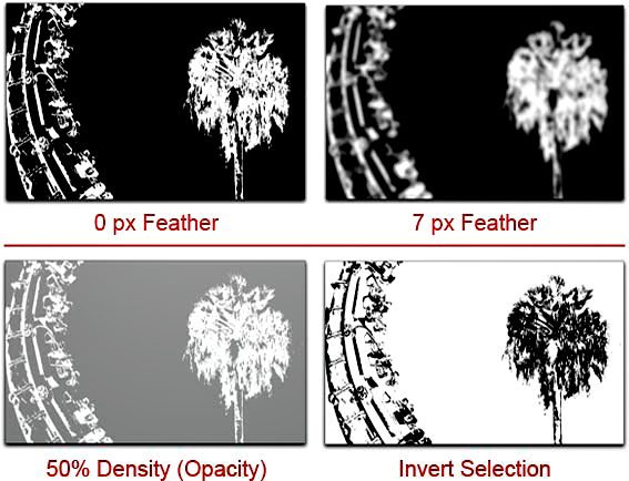 Photoshop Mask Propeties View: screen shot showing feather, density and invert functions by John Watts.
