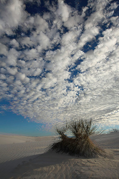 A 14 image stack of the clouds shortly after sunrise at White Sands National Monument, NM by Andy Long.
