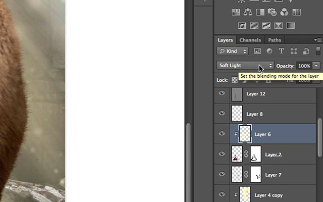 Photoshop screen shot of layers and the soft light blending mode by Katelin Kinney.