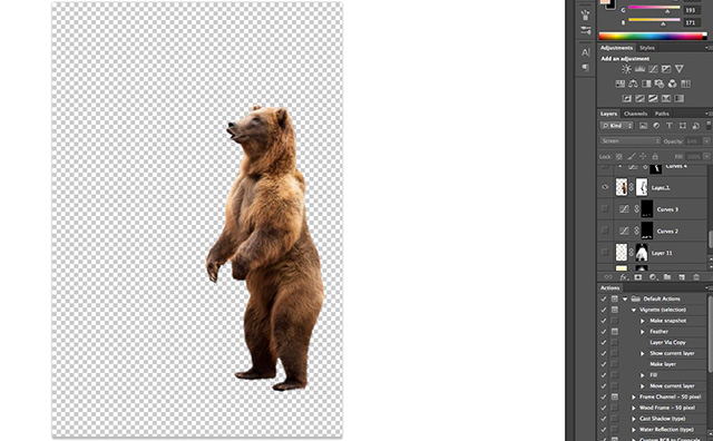 "Photoshop screen shot of the bear layer mask used to create the ""Story Teller"" by Katelin Kinney."
