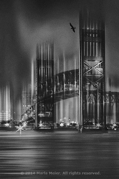 Various software tools were used to create a black and white photo of the Main Street Bridge in Jacksonville, Florida by Marla Meier.