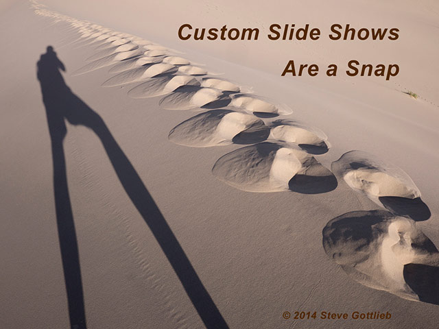 Image of the shadow of the photographer adn steps in a sand dune by Steve Gottlieb.